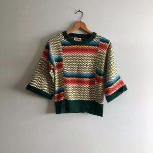 60s Groovy Rainbow Zig Zag Stripe Cropped Sweater